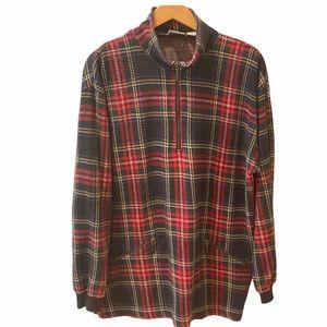 C&B Tartan Plaid Pullover Sweater Sweatshirt Zip L